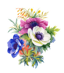 Watercolor illustration of beautiful bouquet of anemone flowers
