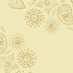Grunge beige indian pattern vector