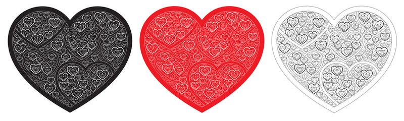 Three hearts consisting of hearts