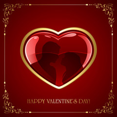 Red Valentines heart with couple