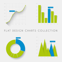 Set of vector flat design statistics charts and graphs