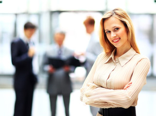 young confident business woman smiling