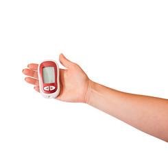 Woman testing for high blood sugar. health diabetic