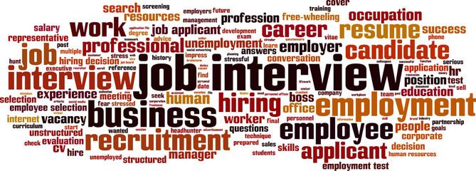 Job interview word cloud concept. Vector illustration