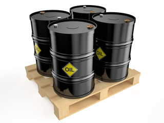 black  oil   barrels on pallet