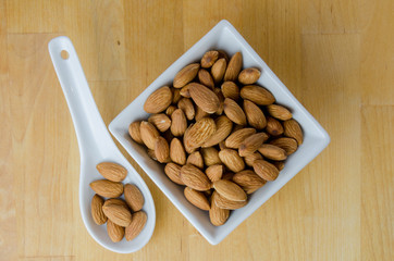 Spoon and Bowl of Almonds