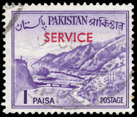 Stamp printed in the Pakistan shows Khyber Pass