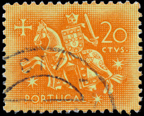 Stamp printed in Portugal shows knight on a horse
