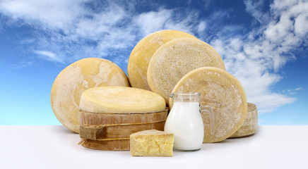 various forms of cheese with milk on the table and sky backgroun