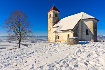 St. Ana church on a snowy hill in winter