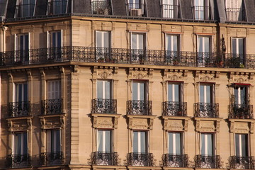Frontage of typical building in Paris