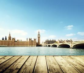 Big Ben in London and wooden platform