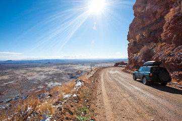 Moki Dugway, an unpaved dangerous road in south Utah, USA
