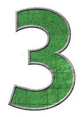 yeşil renkli 3 sayısı