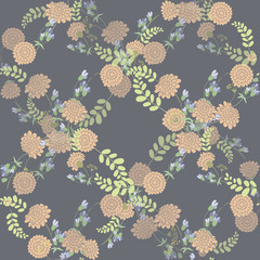 Seamless vintage  pink flower pattern