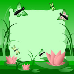 Children's image with label for text. Swamp with lotus