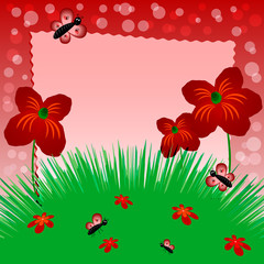 Children's image with label for text. Meadow with poppies