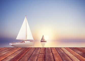 Sailboat Sail Summer Travel Freedom Leisure Vacation Concept