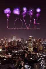 Love sparkle Fireworks celebrating over Tokyo cityscape at night
