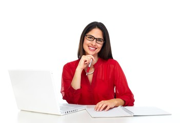 Young business woman working with computer.