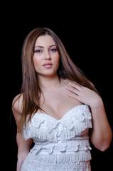 Greek babe face woman , wearing straples white dress