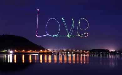 Love sparkle Fireworks celebrating over bridge of Lake Kawaguchi