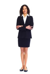 Young businesswoman isolated white