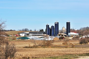 Farm with Blue Silos