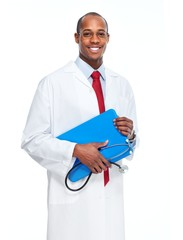 African-American black doctor man.