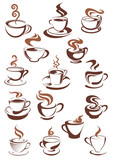 Fototapety Brown cups of coffee, cappuccino, espresso, latte or chocolate