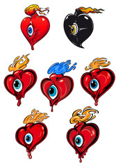 Cartoon hearts with eye and fire flames