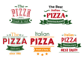 Italian pizza colorful labels
