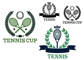 Tennis tournament emblems with rackets and balls
