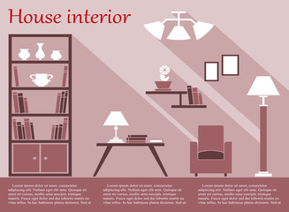 House interior infographic in flat style with furniture and text