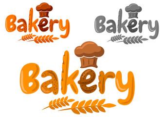 Bakery emblem or logo made of baking in cartoon style