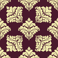 Seamless pattern in damask style with beige flourishes
