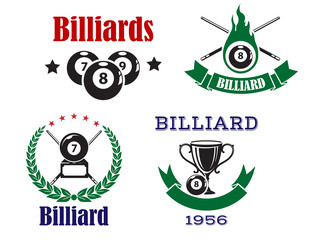 Retro emblems for pool club with crossed cues and balls