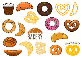 Outlined and cartooned buns, cakes, croissants, donuts, pretzels