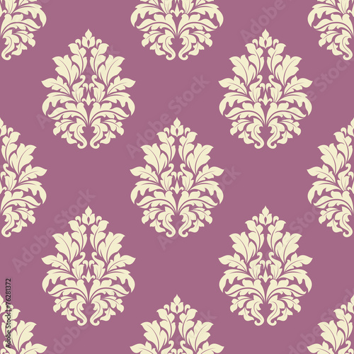 Fotobehang Kunstmatig Seamless lush blooming damask floral pattern