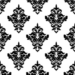 Black and white victorian floral seamless pattern