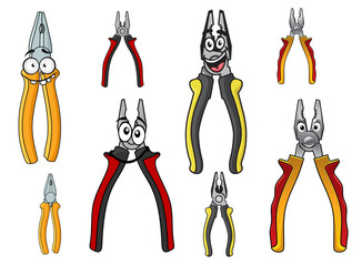 Cartooned funny pliers with colorful handles