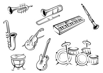 Outline string, wind, keyboard and percussion instruments