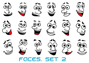 Cartoon human faces with happy emotions