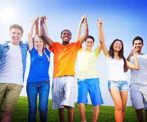 Group Friends Outdoors Celebration Winning Victory Fun Concept