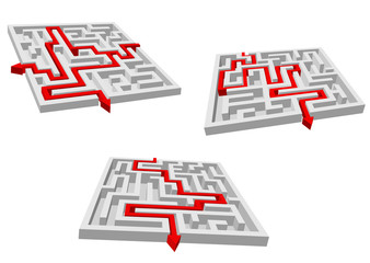 Mazes or labyrinths with red prompts