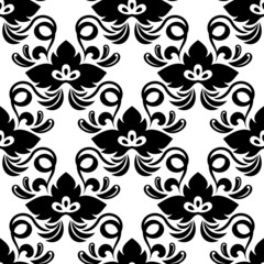 Black abstract shamrock leaves seamless pattern