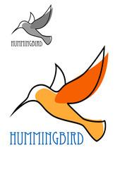 Flying orange hummingbird in outline sketch style