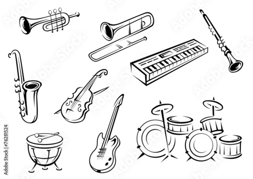 Outline string, wind, keyboard and percussion instruments - 76281524