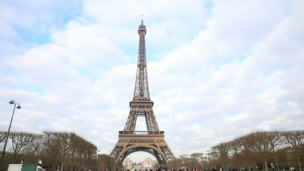 Eiffel Tower at winter time in Paris, France