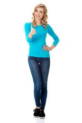 Full length woman ready to handshake